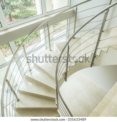 Close-up of winding stairs in luxury apartment