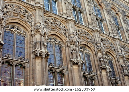 Close up of Windows of Gent Cathedral - stock photo