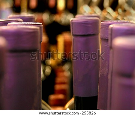 Close up of wine bottle tops meant for a background or abstract