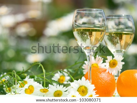 Close-up of wine glasses - stock photo