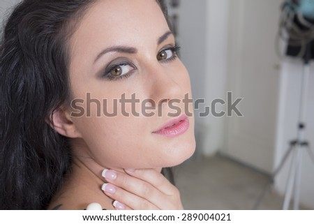 close-up of woman  - stock photo