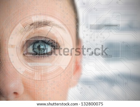 Close up of woman eye analyzing charts with circuit board background - stock photo