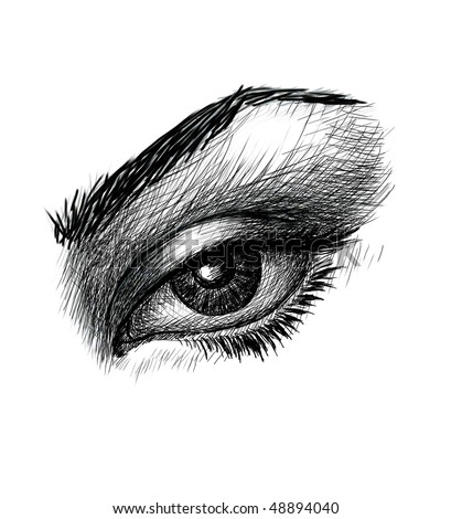 Close-up of woman eye. Black and white drawing