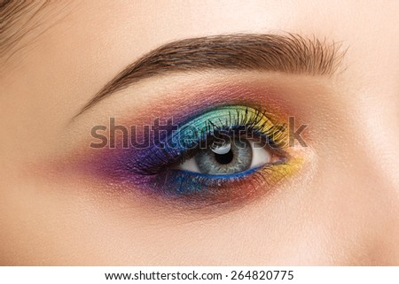 Close-up of woman eye with beautiful colourful makeup
