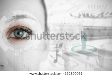 Close up of woman eye with futuristic interface showing binary codes and circuit board