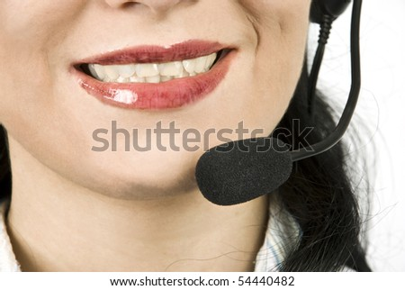 Close up of woman face with headset,help desk agent smiling