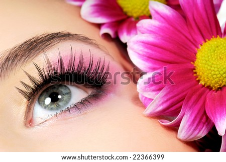 Close-up of woman green eye. Pink flower on background. - stock photo