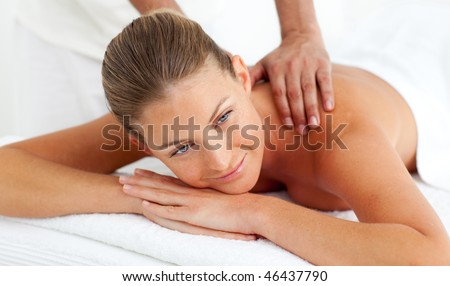 Close-up of  woman having a massage in a spa center