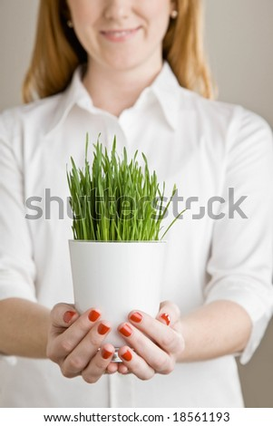 Close up of woman holding container and delicate, growing grass