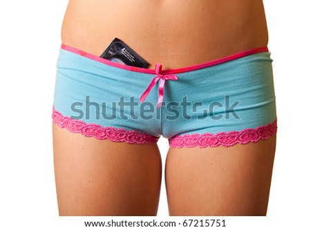 Close-up of woman panties with condom - stock photo
