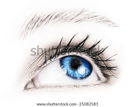 Close-up of woman?s blue eye - stock photo