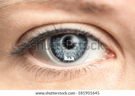Close-up of woman's eye. New technologies and futuristic concept - stock photo