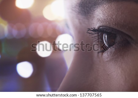 Close up of woman's eye, side view - stock photo