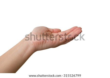 Close-up of  woman's hand, palm up. Isolated on white background - stock photo