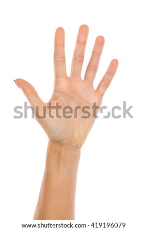 Close up of woman's hand showing five fingers. Studio shot isolated on white.