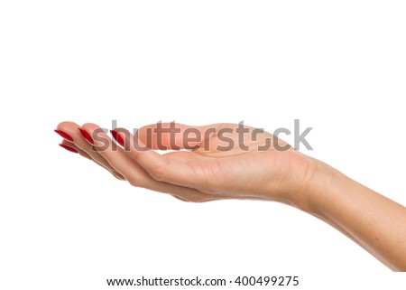 Close up of woman's hand with red nails presenting something. Studio shot isolated on white.