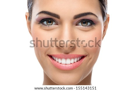 Close up of woman with great smile - stock photo