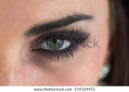 Close up of woman with long eyelashes - stock photo