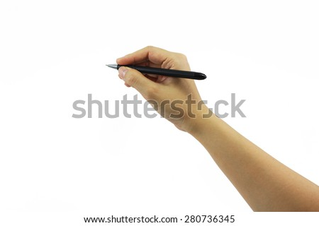 Close up of women arm writing with black pen. Isolated on pure white background.