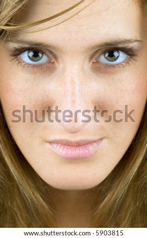 Close up of womens face very clean and sharp image