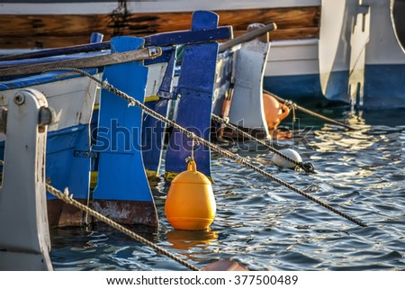 close up of wooden boats in Sardinia, Italy - stock photo