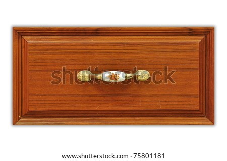 Close up of wooden desk drawer - stock photo