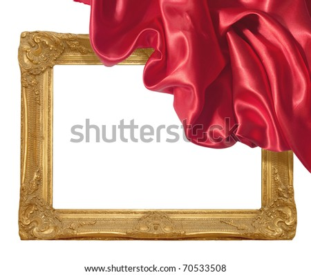 close up of wooden frame cover with silk textured cloth on white - stock photo