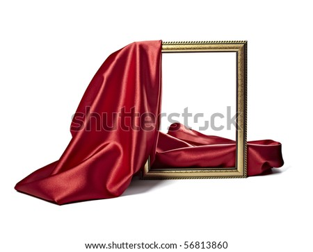 close up of wooden frame cover with silk textured cloth on white background with clipping path - stock photo
