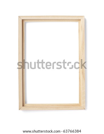 close up of wooden frame on white background with clipping path - stock photo