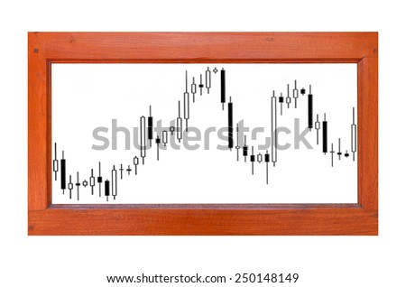 close up of wooden sign with finance business graph - stock photo