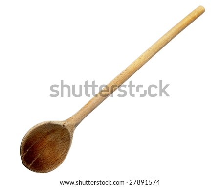close up of wooden spoon on white background with clipping path
