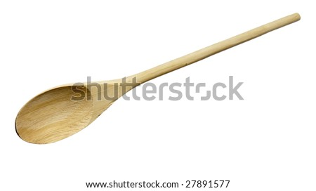 close up of wooden spoon on white background with clipping path - stock photo