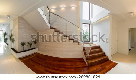 Close-up of wooden stairway in luxury residence
