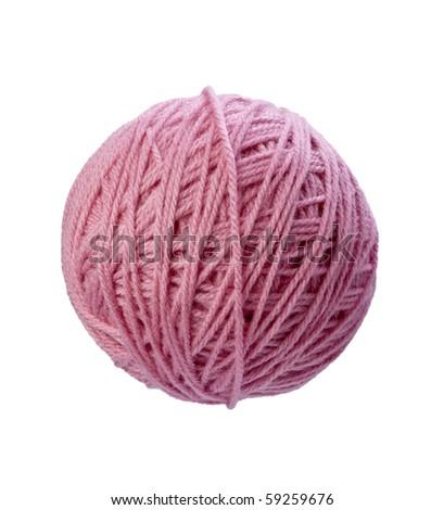 close up of wool knitting on white background - stock photo