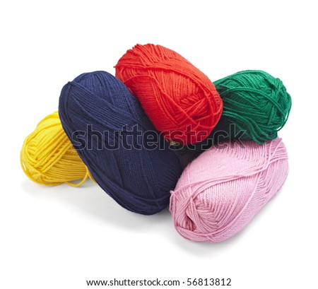 close up of wool knitting on white background with clipping path