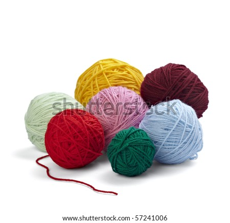 close up of wool knitting on white background with clipping path - stock photo