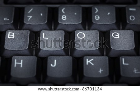 close up of word blog on computer keyboard - stock photo