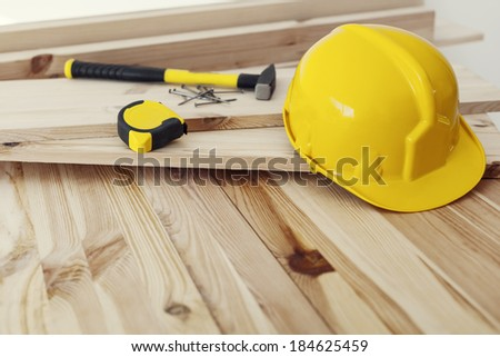 Close up of workplace for professional carpenter