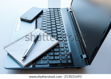 Close up of workplace in office