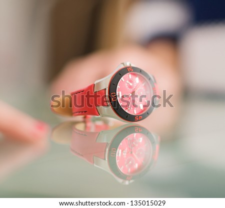 Close-up Of Wristwatch, Indoors - stock photo