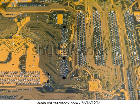 Close up of  yellow computer circuit board - stock photo