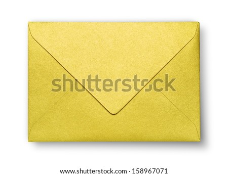 Close-up of yellow envelope on white with shadow - stock photo