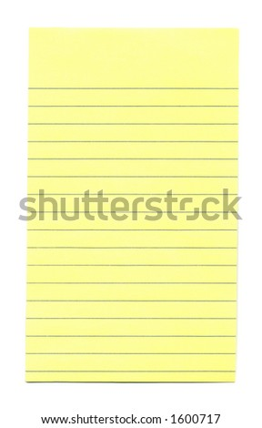 Close-up of yellow note paper isolated on a white background