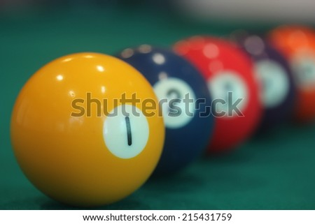 close up of yellow snooker ball with number one on it with other colorful balls in the background - leadership or leader or winner concept image