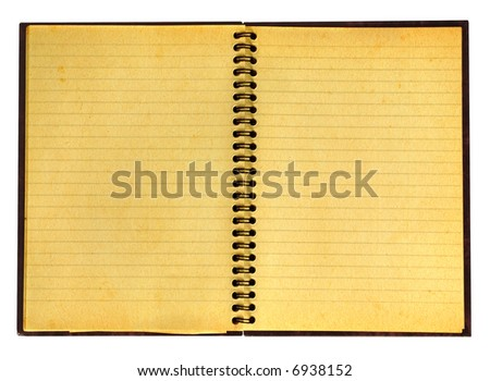 close-up of yellowed open notebook isolated on pure white background, well visible paper texture - stock photo