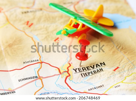 Close up of   Yerevan ,Armenia  map with red pin amd airplane   - Travel concept - stock photo