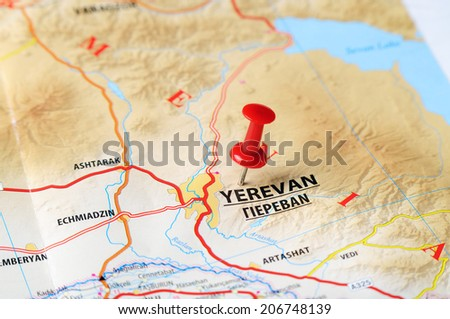 Close up of   Yerevan ,Armenia  map with red pin    - Travel concept - stock photo