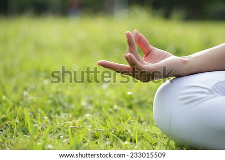 close up of Yoga woman hand in lotus pose. Girl practicing yoga outdoors - stock photo