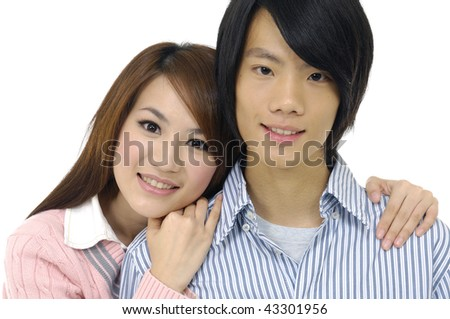 Close up of young attractive couple passionately in love holding