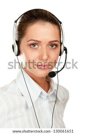 Close-up of young customer service girl with a headset isolated on white background - stock photo
